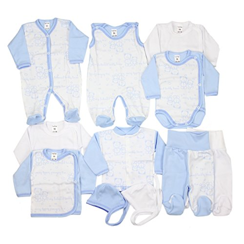 11-tlg. Set Baby Erstausstattung Bekleidung: Strampler Wickelshirts Schlafanzug Wickelbodys Strampelhose Mütze, Farbe: Blau / Weiß, Größe: 68