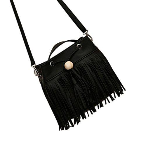 Hunpta Frauen Vintage Messenger Bag Crossbody Taschen Handtasche Quaste Umhängetaschen Schwarz