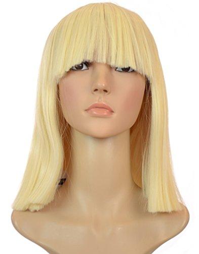 Blonde Sia üppige abgerundete Perücke im Bobstil | Abgerundetes Pony | Blonde Cleopatra Stil Perücke
