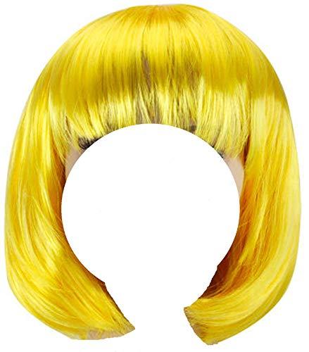 Peluca amarilla corta para mujer para cosplay