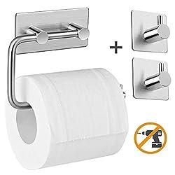 Aikzik Selbstklebend Edelstahl Toilettenpapierhalter und 2 Haken