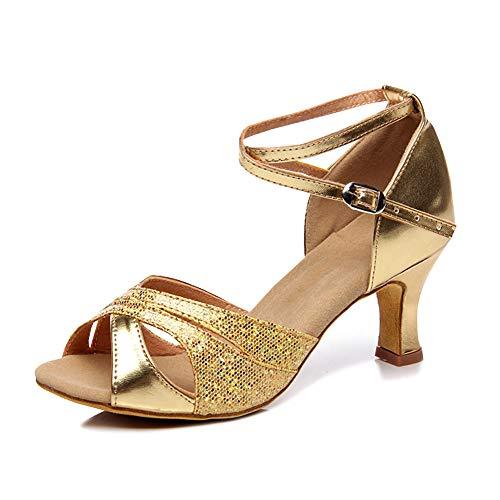 LSHEL Damen Latin Dance Shoes High Heel Sandale Ballschuhe Tango Samba Tanzschuhe, Gold, 38 EU