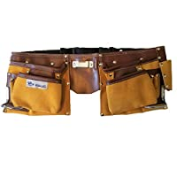 R Dawg 11-Pocket Suede Leather Tool Bag with Adjustable Waist Strap Tool Belt for Men - Heavy Duty Leather Tool Belt Handyman Tool Belt Pouch with 2 Steel Hammer Loops and Steel Tape Measure Clip