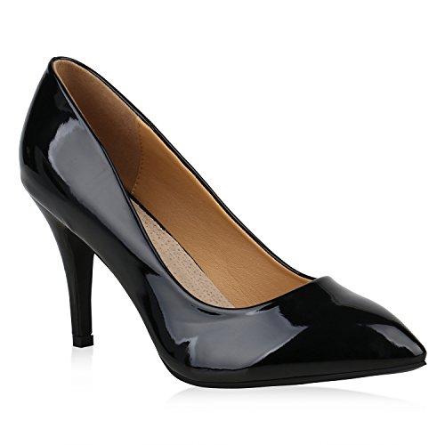 Stiefelparadies Spitze Damen Pumps Lack Metallic Party Schuhe Mid Heels Übergrößen 156737 Schwarz Agueda 43 Flandell