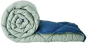 Amazon Brand - Solimo Microfibre Reversible Comforter, Single, Grey and Blue