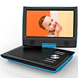 ieGeek 11' Portable DVD Player with Higher Brightness Screen, Dual Earphone Jack, Remote Controller, 5 Hours Rechargeable Battery, SD Card Slot and USB Port, Blue