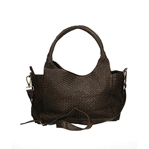 CTM Femme Sac à bandoulière Tressé Vintage Style avec bandoulière en cuir véritable made in Italy - 38x26x15 Cm Marron foncé