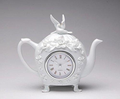 18,7cm Rose Blume mit Taube Top Design Teekanne mit Uhr Center -