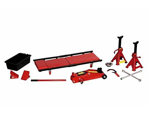 Kit de gato hidráulico, 2 caballetes, 2 calzas y herramientas