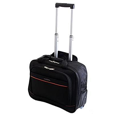 Executive Business Fits upto 15.4 inch Laptop Wheeled On-Board Cabin Bag Suitcase Briefcase Pilot Trolley Carry Case Travel Bag (Black)