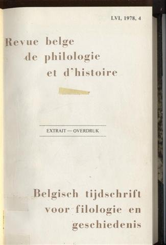Revue belge de philologie et d'histoire (extrait) / Belgisch tijdschrift voor filologie en geschiedenis (overdruk) 1977-1981