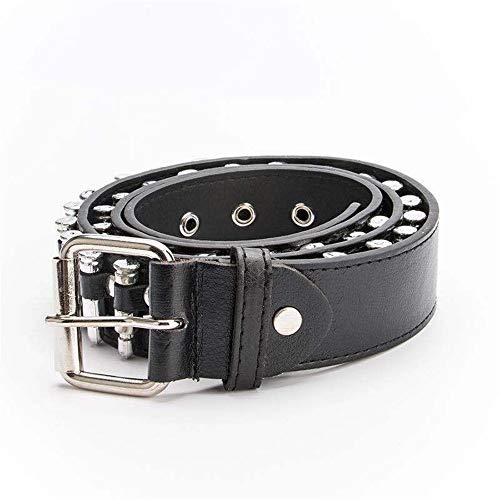 Cinturón de PU Cinturón de Remaches con diseño de Vaquero de diseño Vintage para Hombres/Mujeres Paquete de 2 Relojes (Color : Negro, tamaño : Free Size)