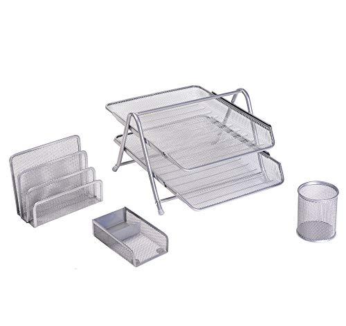 Exerz premium mesh ufficio set di 4 pz - ripiano portalettere, portatessere, supporto per block-notes & graffette, ripiani per file 2 strati - desktop di storage contenitore cremagliera (argento)