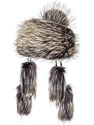 Futrzane Mongolische Fellmütze Strickmütze Mütze Bommel Fell Wintermütze Pelzmütze (Nuss)