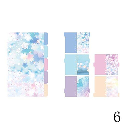 Blue Vessel Bunte Tabbed Paper Planer Teiler Indexseite Registerkarte Notebook - Bürobedarf (A6 Kirschblüte Sternenhimmel) - Registerkarte Teiler