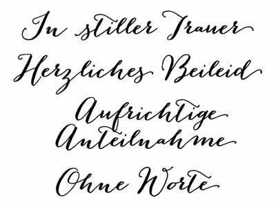"""Clear Stamp-Set Stempel-Gummi - Karten-Kunst Große Worte """"In stiller Trauer"""""""