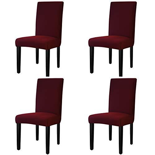 Greatime Stretch Esszimmerstuhlabdeckung Parsons Stuhl Stuhlbezug Schutzbezug Weich Abnehmbar Waschbar(4,Kariertes Weinrot ) - 4 Parson Stühle