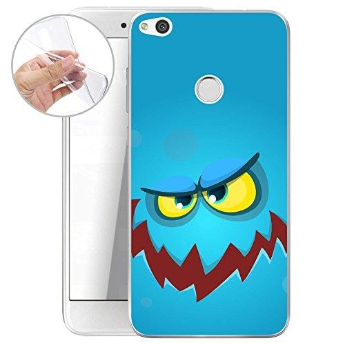 finoo | Huawei P8 Lite 2017 Weiche flexible lizensierte Silikon-Handy-Hülle | Transparente TPU Cover Schale mit Halloween Motiv | Tasche Case mit Ultra Slim Rundum-schutz | Blaues Monster