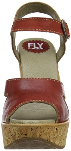 FLY London Hull978, Sandales Compensées  Femme Rouge (Red 002)