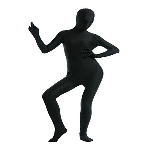 CHENGYANG Unisex Karnevals Kostüm Reine Farbe Catsuit Zentai Ganzkörper Bodysuit Cosplay Unitard Schwarz XL (Erwachsene) (Schwarz Unitard Kostüm)