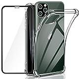 ivencase Cover per iPhone 11 PRO Max+ Vetro Temperato per iPhone 11 PRO Max, Ultra Sottile Antiurto Morbido in Silicone TPU Custodia Cover (Trasparente)