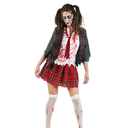 Kostüme Dead Girl (Zombie Kostüm Damen Horror Schoolgirl 3-teilig für Karneval Halloween -)