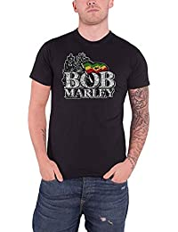 Bob Marley T Shirt Distressed Jamaica Zion Lion Logo Official Mens Black