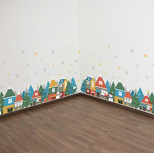 zpbzambm Christmas Winter Snow City House Wall Stickers for Kids Rooms Window Party Home Decor New Year Poster Wall Decals PVC Mural Art 25X70Cm 2Pcs/Set