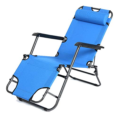 Klappstuhl Duty Folding Schwerelosigkeit Stühle Strand Sonnenliege Recliners Strand Patio Garten Camping Outdoor Lounge Chairs Folding Zurück Stühle ( Color : Blue , Size : 178*59*25cm )