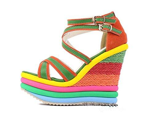 LvYuan Sandali di estate delle donne / ufficio & carriera / piattaforma sexy / impermeabile / tacco tallone / colore misto / fibbia Green