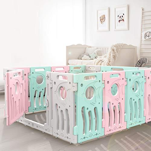 LONTEK Laufgitter Laufstall Krabbelgitter Schutzgitter Baby Absperrgitter für Kinder aus Kunststoff mit Tür und Spielzeug - erweiterbar - sicher ohne BPA. Home Indoor - Outdoor (Multicolor, 18 Panels) (Laufstall Baby-rosa)