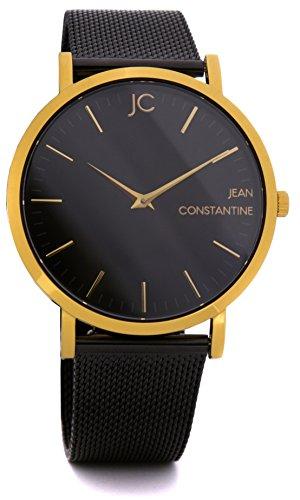 Jean Constantine Royal Armbanduhr für Damen und Herren - Saphirglas, Wasserdicht 5 bar, Ronda Uhrwerk, Milanese, Mesh-Armband, Gold/Schwarz