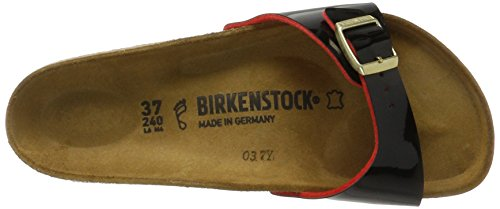 Birkenstock - Madrid Birko-flor, Pantofole Donna Schwarz (Lack Two Tone Black)