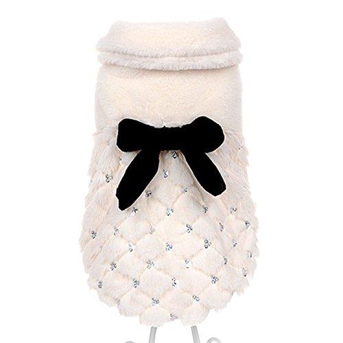 Muodu - Cappotto invernale elegante ed esclusivo con fiocco per animali domestici, gatti e cani piccoli come Chihuahua