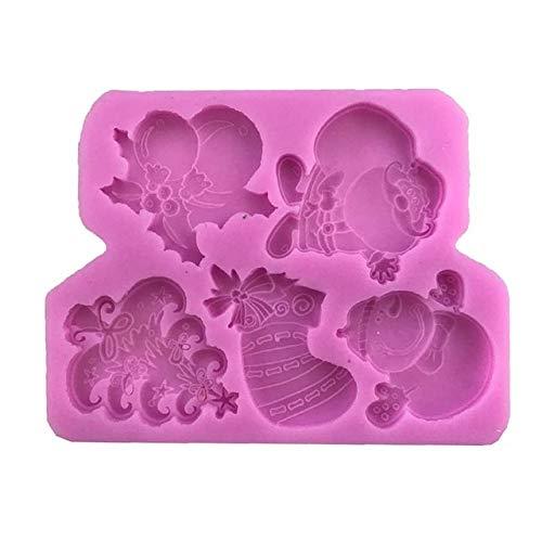 WANGTGG 4 Weihnachten Serie Schokolade süßigkeiten Cookie Fondant handgemachte seifenform silikon backformen DIY sugarcraft dekorieren Werkzeug, x196 (Brief Süßigkeiten Halloween Keine)