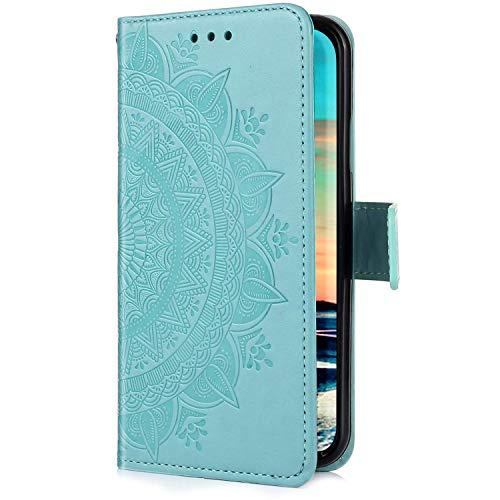 Uposao Kompatibel mit Samsung Galaxy A40 Hülle Handytasche Handyhülle Mandala Blumen Muster Klapphülle Flip Case Cover Schutzhülle Lederhülle Brieftasche Leder Tasche Kartenfach,Grün