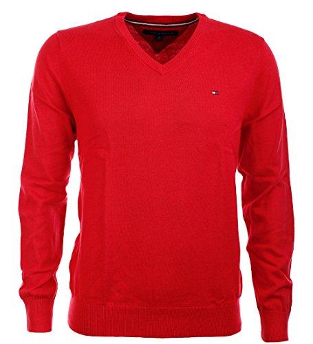 Tommy Hilfiger V-Neck Herren Pullover magenta red Größe L