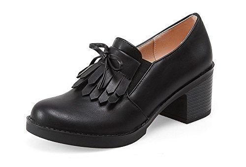 Chaussures Talon Légeres Pu Tire Voguezone009 Unie Noir Rond Femme À 8tqUCdw
