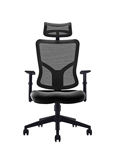 41DA4gwQ6ZL - Office Hippo High Back Mesh Office Chair with Adjustable Arms and Mesh Headrest, Fabric, Black