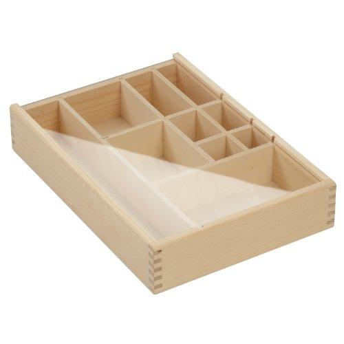 Memorybox / Setzkasten aus massivem Fichtenholz - 10 Innenfächer - mit Acryldeckel - unbehandelt - naturbelassen - Maße: ca. 340 x 240 x 63 mm (BxTxH) *** ideal für Sammler - Spielzeugfiguren - Aufbewahrung u. ä. Sammlerbox - Memory-Box - Geschenk - Geschenkidee - Holzbox - Holzartikel ***