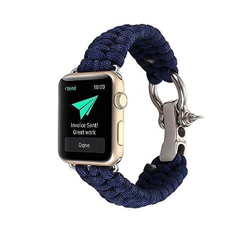 Kobwa 38MM/42MM Uhrenarmband für Apple Watch, Paracord Gewebtes Nylon Seil