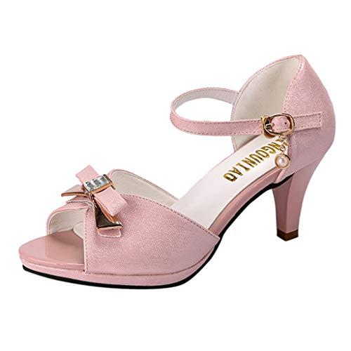 NINGSANJIN Damenschuhe Sandalen & Sandaletten High Heel Sandaletten mit Hohen Absätzen Schuhe Hochzeit Abend Parteischuhe Sommerschuhe Rosa 39