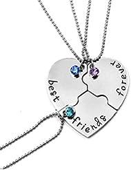 Fengteng De los Mejores Amigos Collar de Diamantes Amistad Amor Costura Empalme Corazón Roto 3 Piezas Collar
