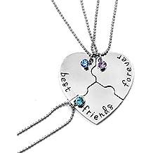 Fengteng Meilleurs Amis Pour Toujours Amitié Amour Collier Diamant Piqûre Épissure Coeur Brisé Collier 3 Pièces