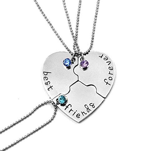 Foto de Fengteng De los Mejores Amigos Collar de Diamantes Amistad Amor Costura Empalme Corazón Roto 3 Piezas Collar