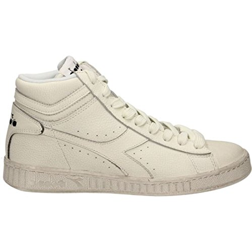 Diadora Game L High Waxed, Pompes à plateforme plate mixte adulte Bianco