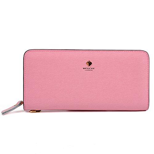 Zipper borsa del portafoglio femminile Lungo Tratto Di Portafoglio in pelle di alta capacità delle donne borse frizione ( colore : Rosy Red ) Rosa
