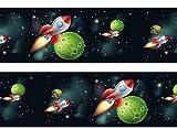 Bordüre Rakete im Weltraum Borde Wandborde 260cm Breite - Vlies Borte Tapetenbordüre Bordüren