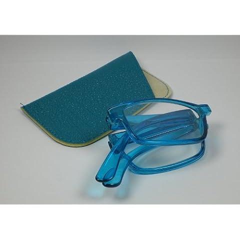 Pieghevole occhiali da lettura + 3,0 Diop. Lettura aiuto ltext caso con lenti correttive di plastica blu occhiali di ricambio