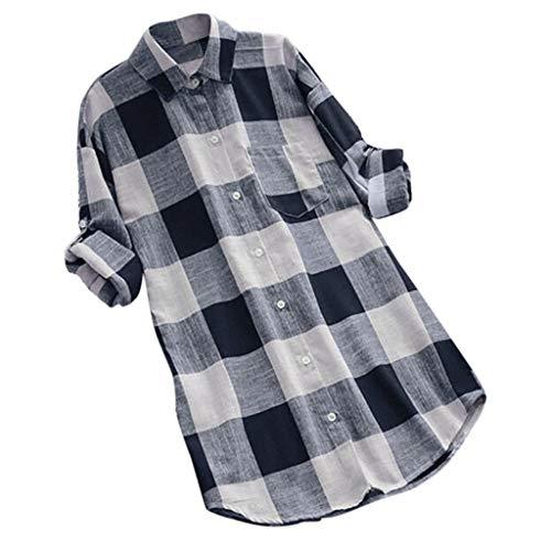 MRULIC Damen Langgitter Langarm Knöpfe Lässige Tops T-Shirt Bluse Frauen Knopf Oben Arbeitshemd Tunics(Dunkelblau,EU-38/CN-M)